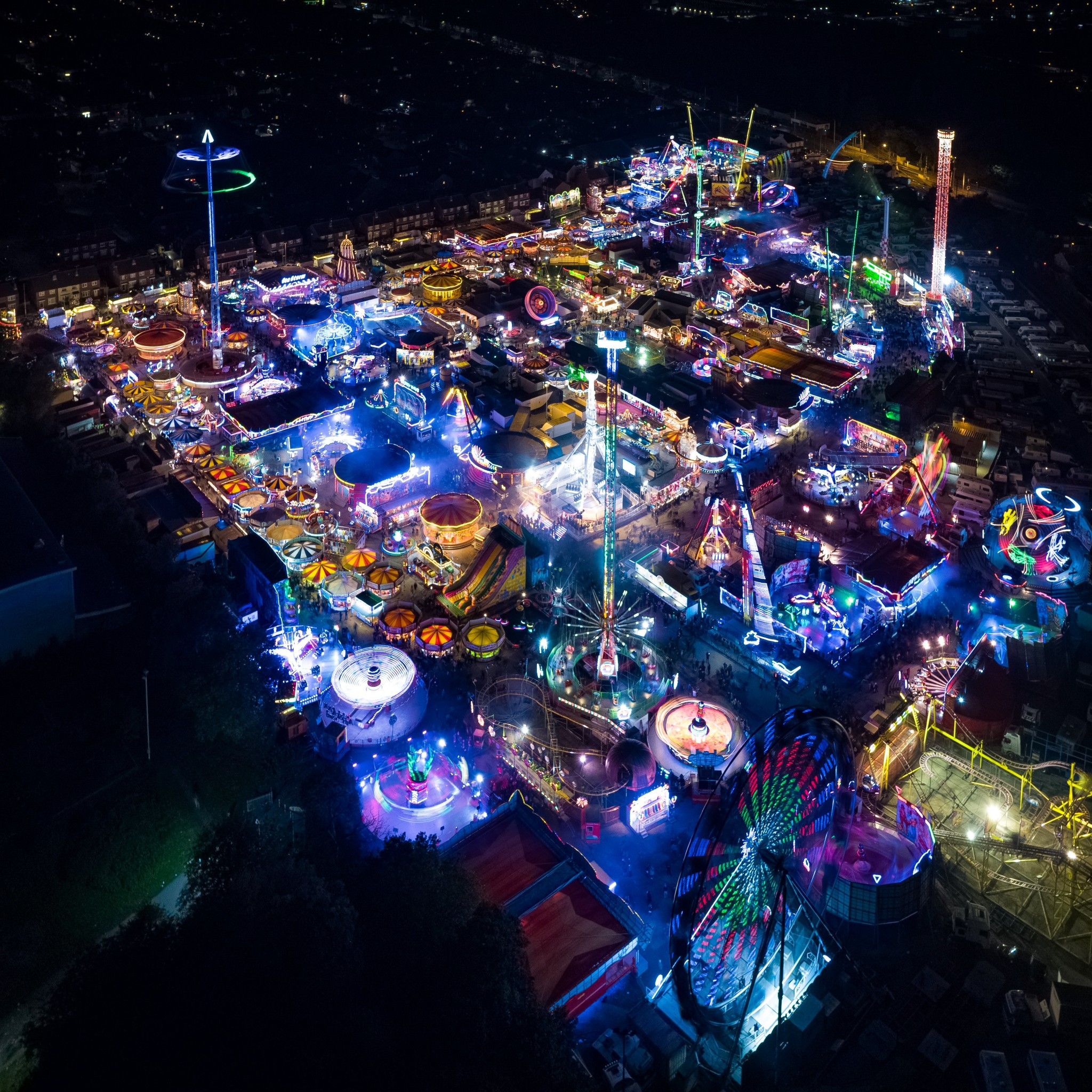 Hull Fair long exposure aerial image taken by drone Square 12x12